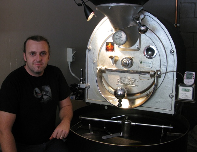 Marty next to the roaster