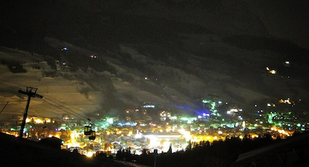 Looking down on Megève at night